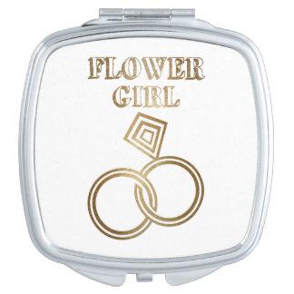 Wedding Blumen-Mädchen-romantische Goldringe Schminkspiegel