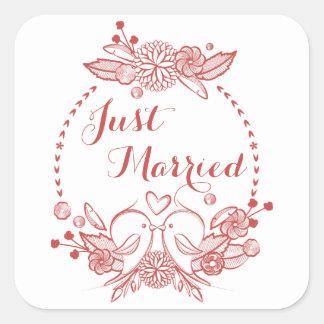 Wedding Blumenburgunder gerade verheiratete rote Quadratischer Aufkleber