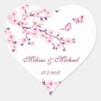 Wedding Blumenkirschblüten Herz-Aufkleber