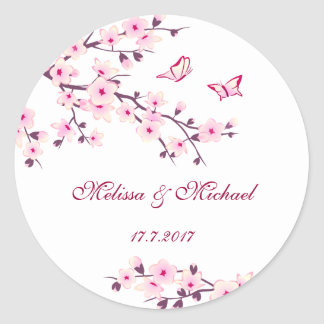 Wedding Blumenkirschblüten Runder Aufkleber