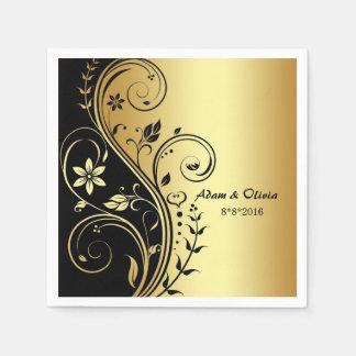 Wedding Blumenrolle-Schwarz-Goldserviette Papierserviette