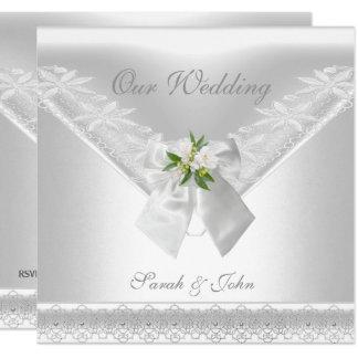 Wedding Blumenspitze des weißen Einladungs-weißen Karte