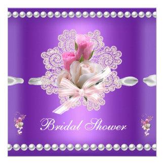 Wedding Brautparty-lila rosa Blumen Ankündigungskarte
