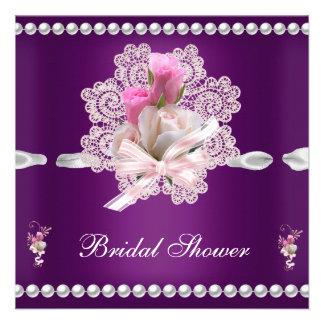 Wedding Brautparty-Pflaumen-Rosa-Blumen Ankündigungen