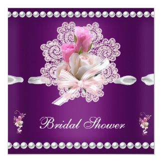Wedding Brautparty-Pflaumen-Rosa-Blumen Quadratische 13,3 Cm Einladungskarte