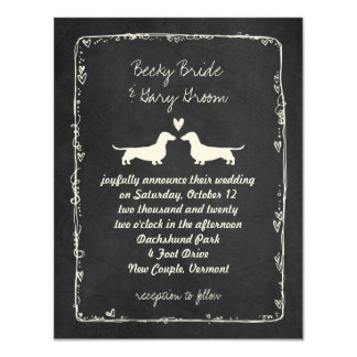 Wedding Dackel-Silhouetten 10,8 X 14 Cm Einladungskarte