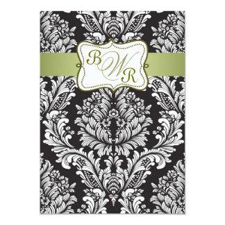 Wedding Damastschwarz-, weiße und Grüne Monogramme 12,7 X 17,8 Cm Einladungskarte