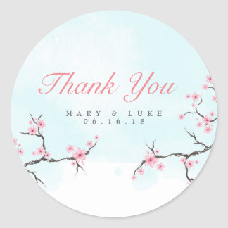 Wedding danken Ihnen | Aquarell-Kirschblüten Runder Aufkleber
