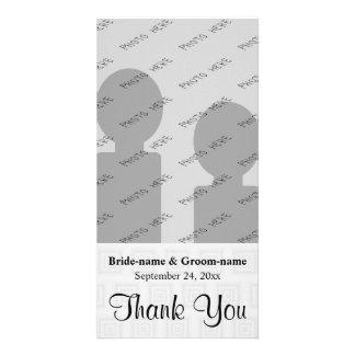 Wedding danken Ihnen, blasses Grau mit Quadraten z Bildkarten