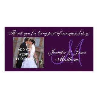 Wedding danken Ihnen die lila Monogramm-Mitteilung Individuelle Foto Karten