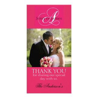 Wedding danken Ihnen die pinkfarbenen Braut-Bräuti Individuelle Photo Karten