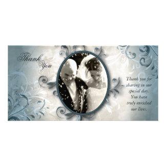 Wedding danken Ihnen Foto-Karte - Vintages Laub Photokartenvorlage