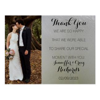 Wedding danken Ihnen Foto-Postkarten-weißes Blumen Postkarte