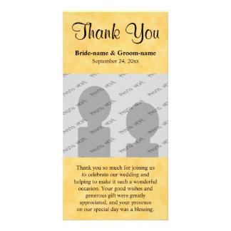 Wedding danken Ihnen Gelb und Schwarzes Fotokartenvorlage