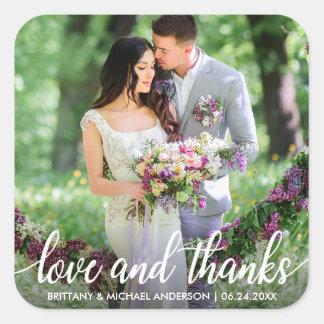 Wedding danken Ihnen Liebe und danken Foto Quadratischer Aufkleber