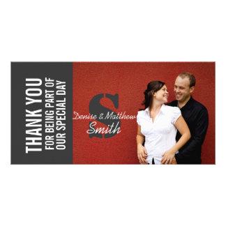 Wedding danken Ihnen mit Monogramm-Namen-Foto-Kart Bilder Karten