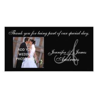 Wedding danken Ihnen Monogramm A und Mitteilung Photo Karte