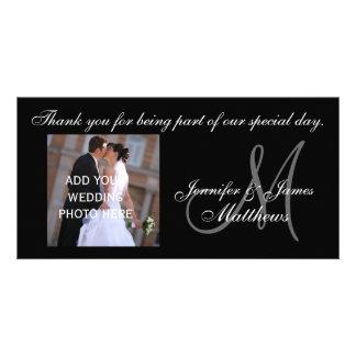 Wedding danken Ihnen Monogramm und Mitteilung Foto Grußkarte