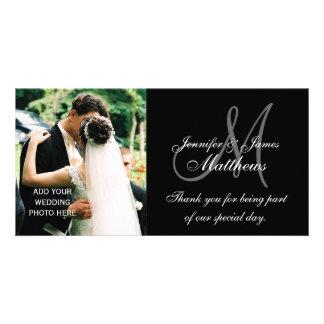 Wedding danken Ihnen Monogramm und Mitteilung Fotokarte