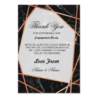 Wedding danken Ihnen, schwarzes MarmorRosen-Gold 8,9 X 12,7 Cm Einladungskarte