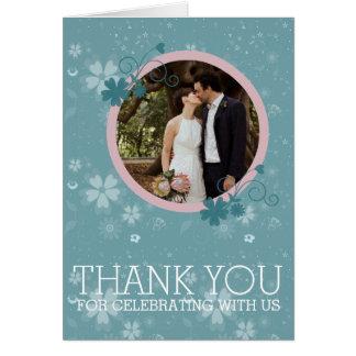 Wedding danken Ihnen Winter-blaue BlumenFoto-Karte Karte