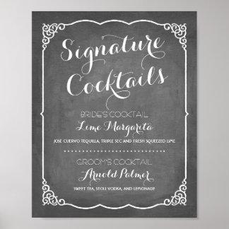 Wedding Dekor des Unterschriften-Cocktail-Menü-  Poster