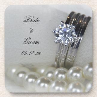 Wedding Diamant-Ringe und weiße Perlen Untersetzer