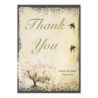 Wedding die Herz-Blatt-Rosa-Baum-Vintagen Vögel 12,7 X 17,8 Cm Einladungskarte