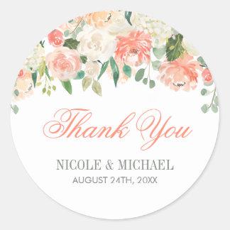 Wedding die Pastellwatercolor-Blumen danken Ihnen Runder Aufkleber