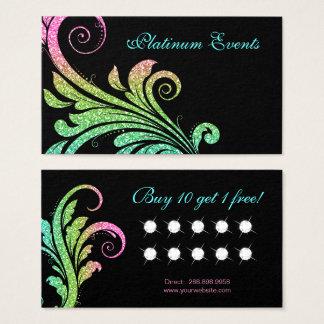 Wedding elegante Glitzer-Blatt-Strudel-Loyalität Visitenkarte
