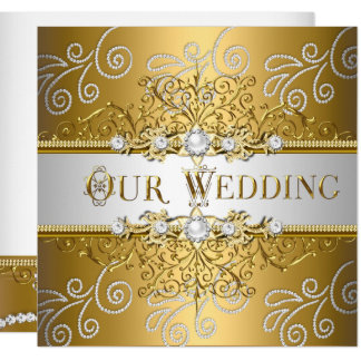 Wedding eleganter Goldsilber-Spitze-Diamant Karte