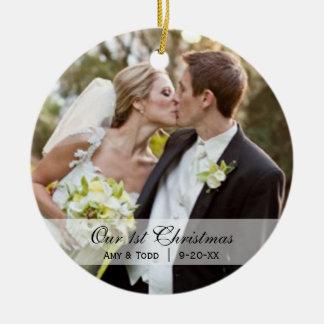Wedding | erste WeihnachtsFoto-Verzierung Rundes Keramik Ornament