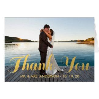 WEDDING FOTO DER IMITAT-GOLDfolien-%PIPE% DANKEN Karte