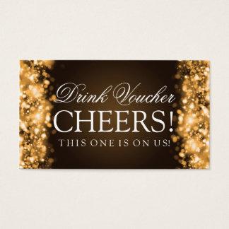 Wedding Getränk-Beleg-funkelndes Licht-Gold Visitenkarte