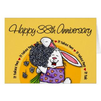 Wedding - glücklicher 38. Jahrestag Karte