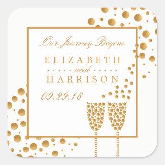 Wedding Goldchampagne-Blasen Quadratischer Aufkleber