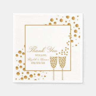 Wedding Goldchampagne-Blasen Serviette