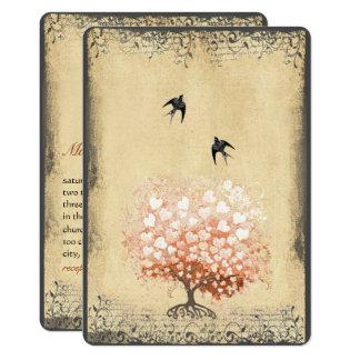 Wedding Herz-Blatt-Licht-Korallenbaum-Vintage 12,7 X 17,8 Cm Einladungskarte