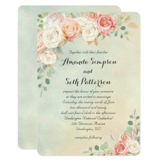 Wedding Hüttechic-Vintage Rosen 12,7 X 17,8 Cm Einladungskarte