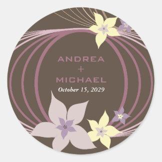 Wedding Ikebana Frangipani-lila tropische Blumen Runder Aufkleber