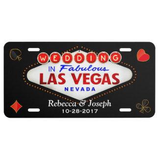 Wedding in fabelhaftem Las Vegas, das verheiratet US Nummernschild