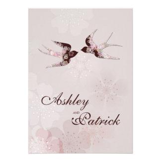 Wedding Kirschblüten-und -Liebe-Schwalben Einladungskarte