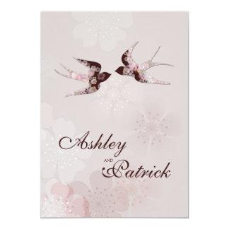 Wedding Kirschblüten-und -Liebe-Schwalben 12,7 X 17,8 Cm Einladungskarte