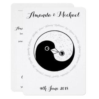 WEDDING LADEN weiße u. schwarze Harmonie YinYang 12,7 X 17,8 Cm Einladungskarte