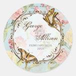 Wedding Les Fleurs Pfingstrosen-Rosen-Tulpe-Blumen Runder Aufkleber