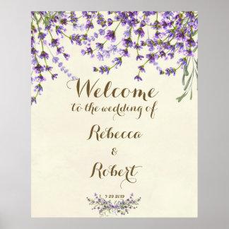 wedding lila Blumen Lavendels Elfenbein des Poster