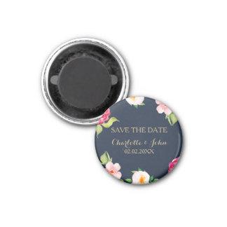 wedding Marine und Goldwatercolor-Blumen Magnet
