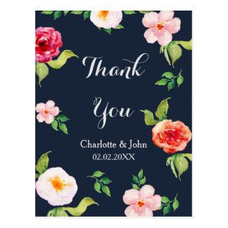 wedding Marine und Silber Watercolor-Blumen Postkarte