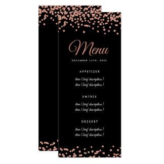 Wedding Menu Rose Gold Faux Glitter Confetti Black Karte