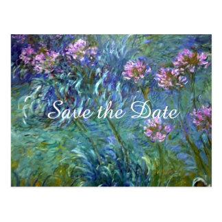Wedding Monet Agapanthus-Blumen Save the Date Postkarte